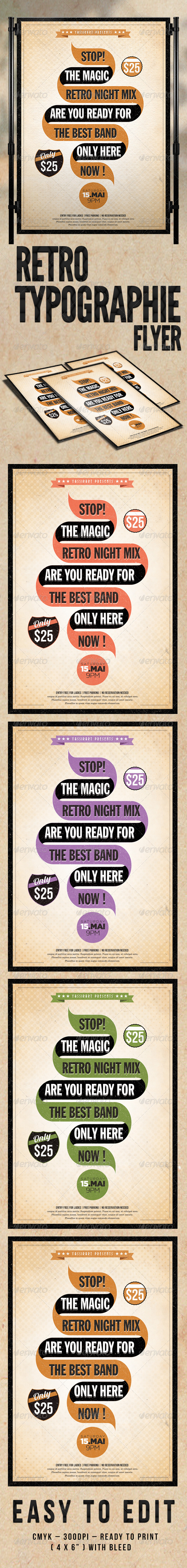 Retro Typographie Flyer Template - Concerts Events