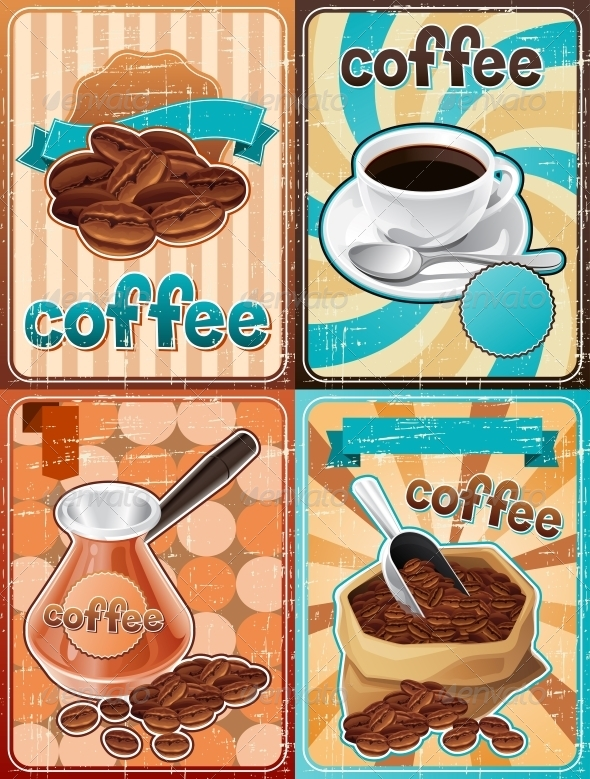 Retro Backgrounds with Coffee - Food Objects