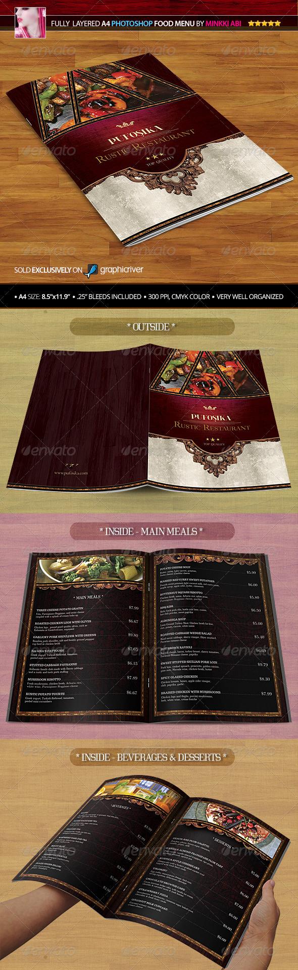 A4 Rustic Restaurant Food Menu - Food Menus Print Templates