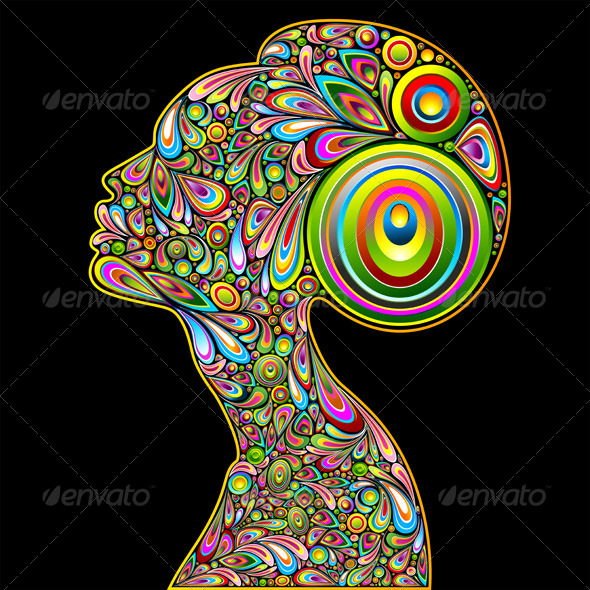 Woman Psychedelic Art Design Portrait - People Characters