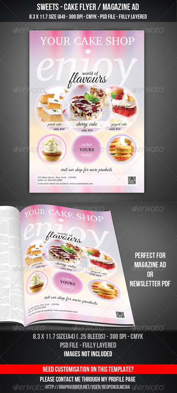 Sweets - Cake Flyer / Magazine AD - Flyers Print Templates