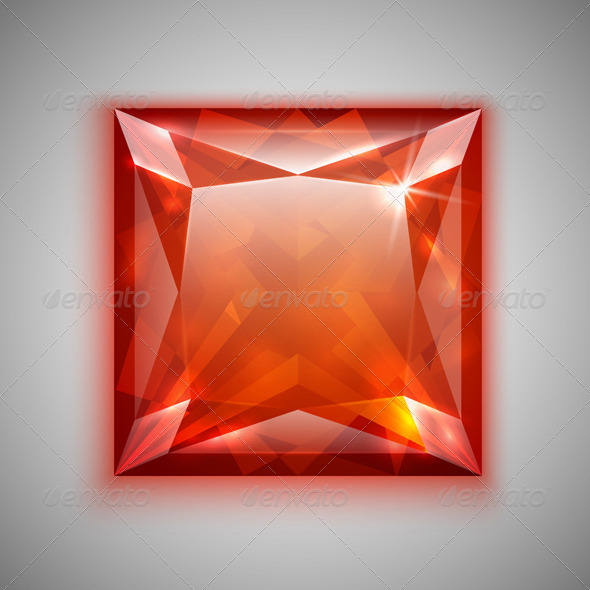 Princess Cut Ruby - Objects Vectors