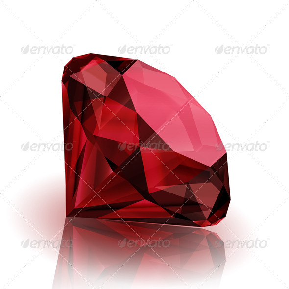 Pink Ruby on White Background - Objects Vectors