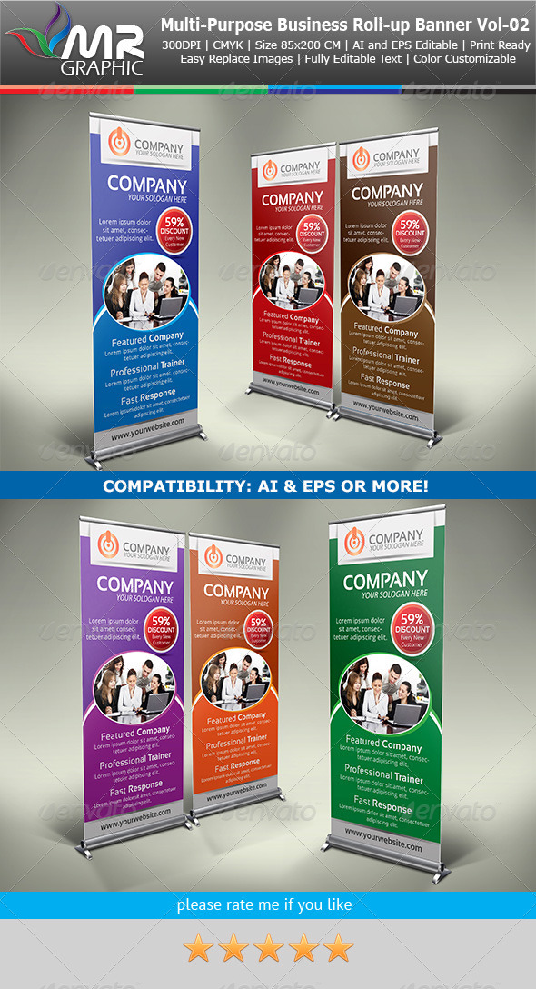 Multipurpose Business Roll-Up Banner Vol-02 - Signage Print Templates
