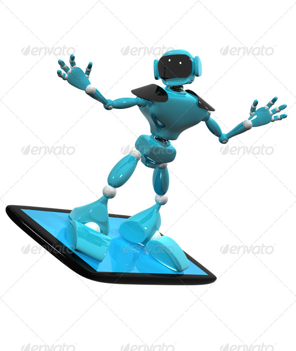 Robot on a Smartphone - Technology 3D Renders
