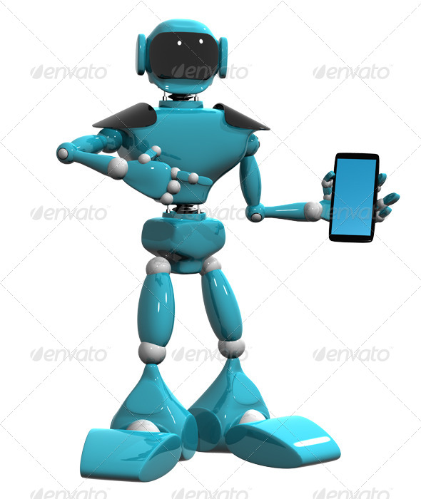 Robot with a Mobile Phone - Technology 3D Renders