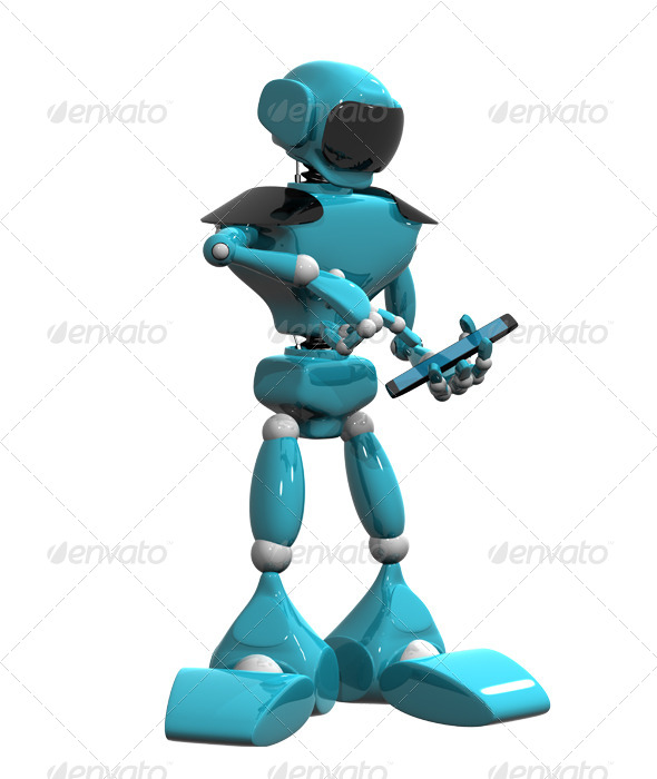 Blue Robot and Smartphone - Technology 3D Renders