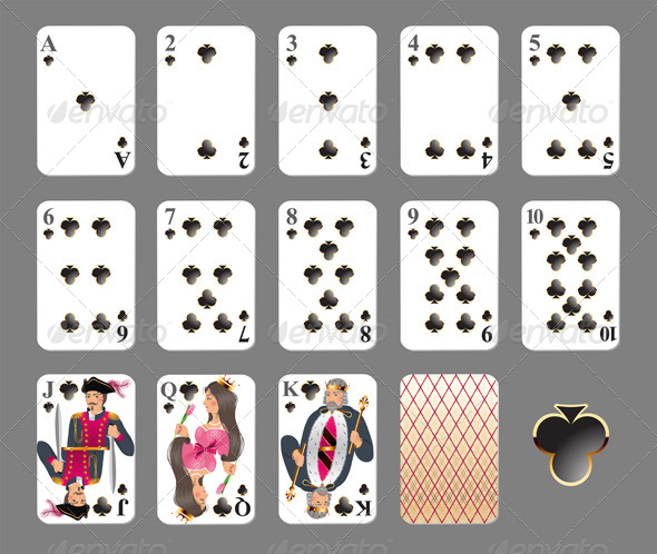 Playing Cards - Club Suit. - Sports/Activity Conceptual