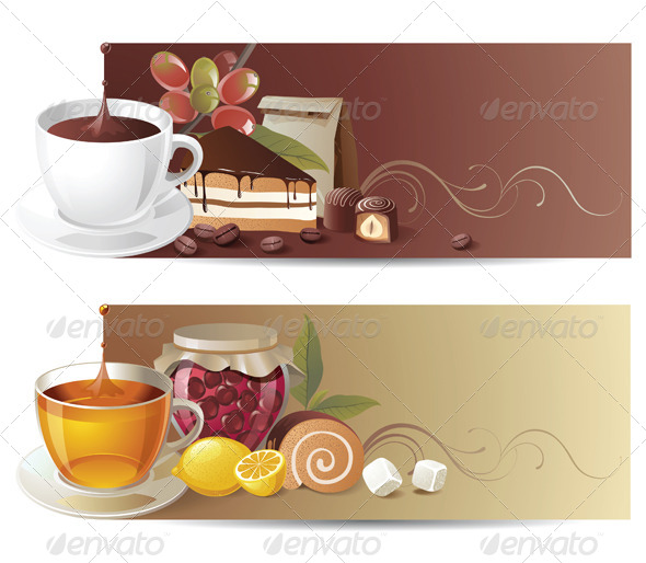 Coffee and Tea Banners - Food Objects