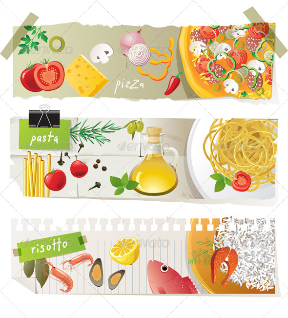Italian Cuisine Dishes - Food Objects