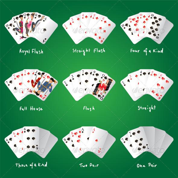 Poker Combinations - Sports/Activity Conceptual