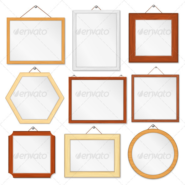 Wooden Frames - Objects Vectors