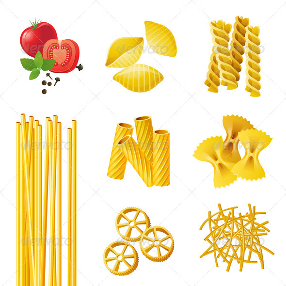 Different Pasta Types - Food Objects