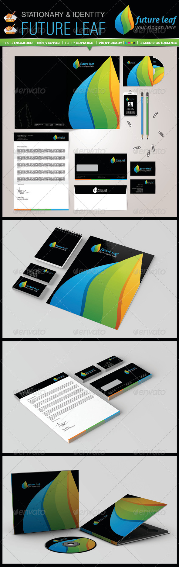 Stationary & Identity - Future Leaf - Stationery Print Templates