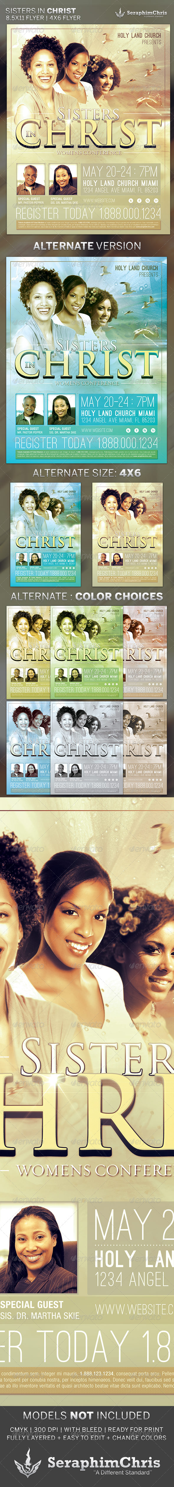 Sisters in Christ: Church Flyer Template - Church Flyers