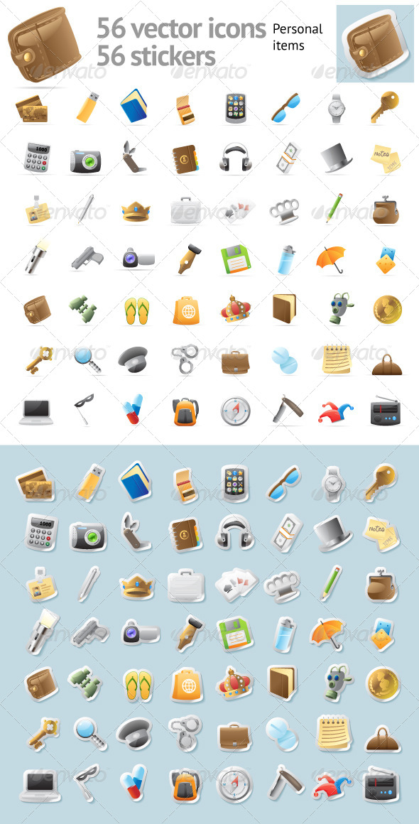 Vector Icons for Personal Items - Objects Icons