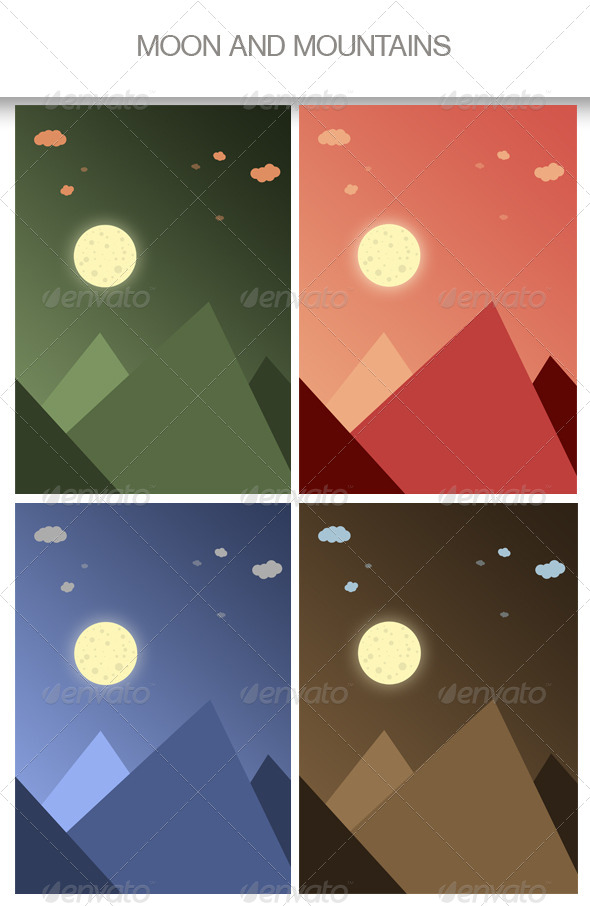 Moon and Mountains Backgrounds - Nature Backgrounds