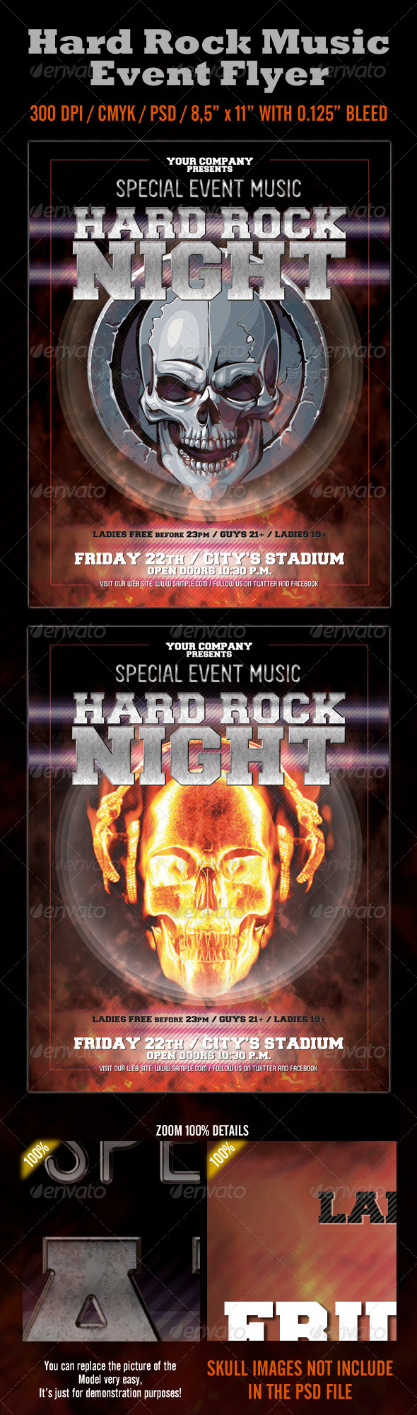 Hard Rock Night Event Flyer - Events Flyers