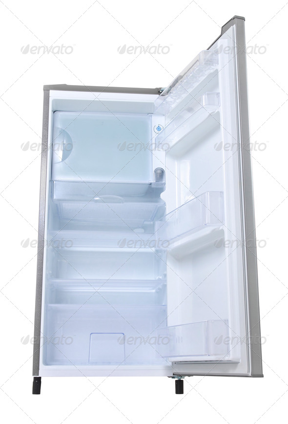 silver refrigerator open - Stock Photo - Images
