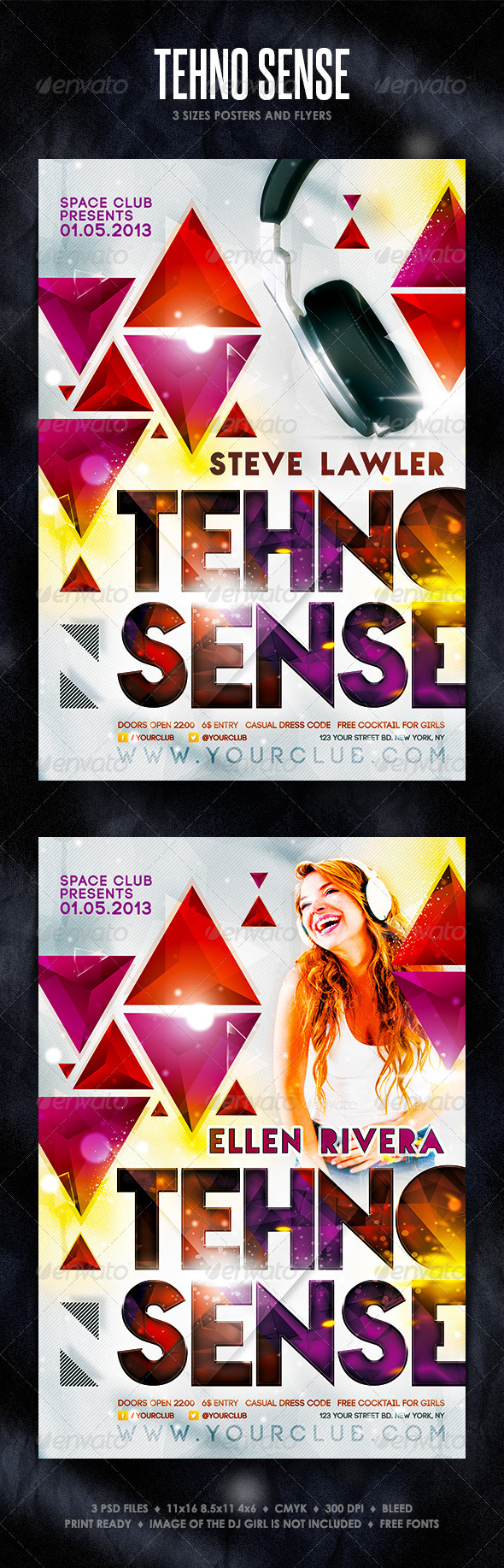 Tehno Sense Posters and Flyers - Clubs & Parties Events