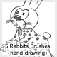 5 Rabbits Brushes (hand-drawing) - GraphicRiver Item for Sale