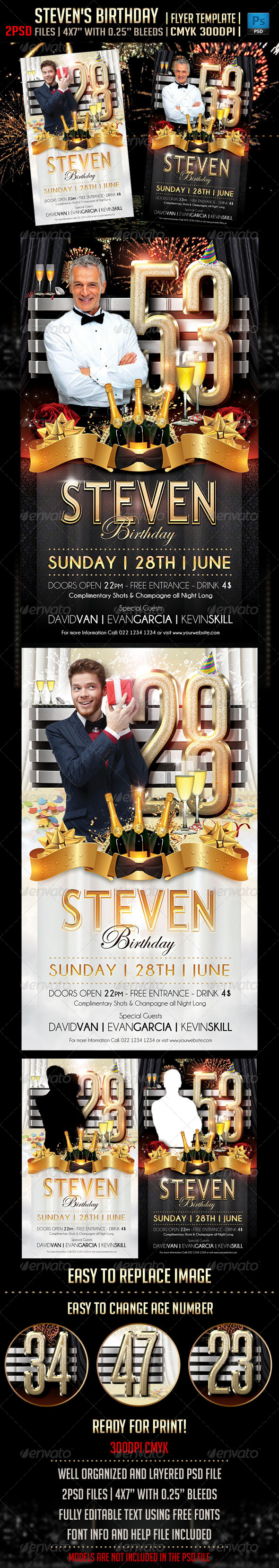 Steven's Birthday Flyer Template - Events Flyers