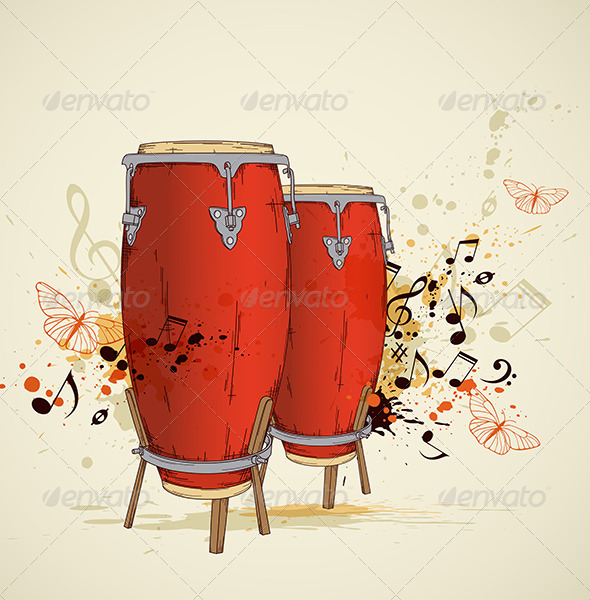 Red Drums and Notes - Miscellaneous Vectors