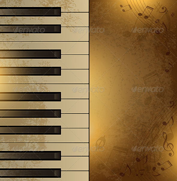 Vintage Background with Piano - Backgrounds Decorative