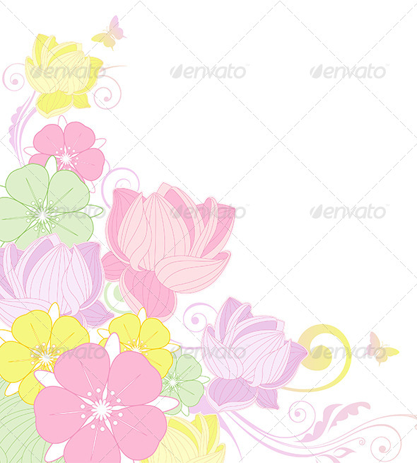 Floral Background with Lotus  - Backgrounds Decorative