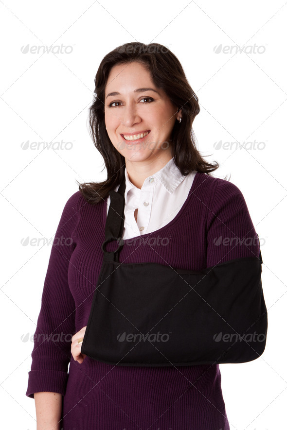 Woman with broken arm in sling - Stock Photo - Images