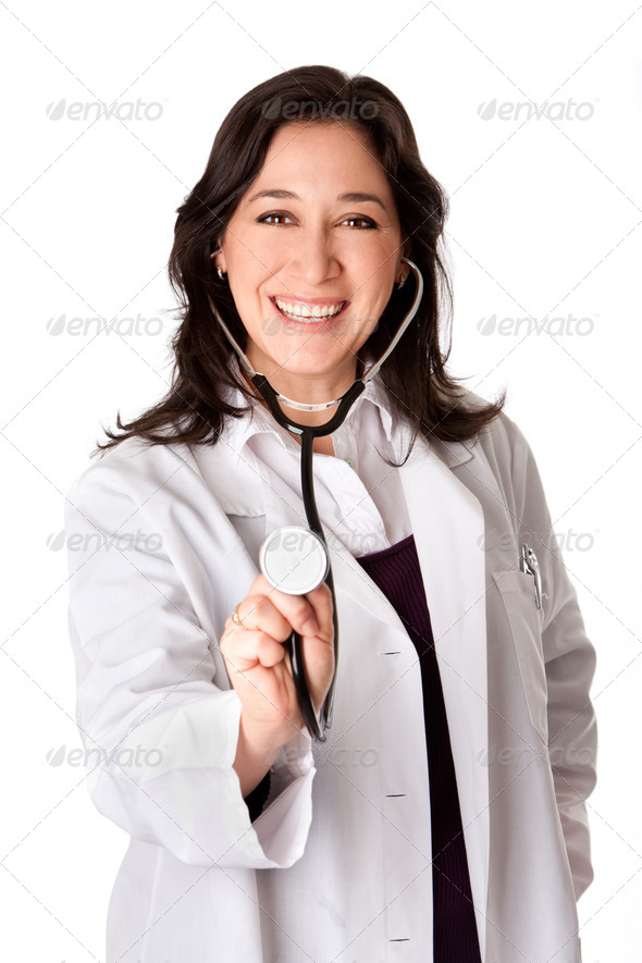 Happy doctor with Stethoscope - Stock Photo - Images