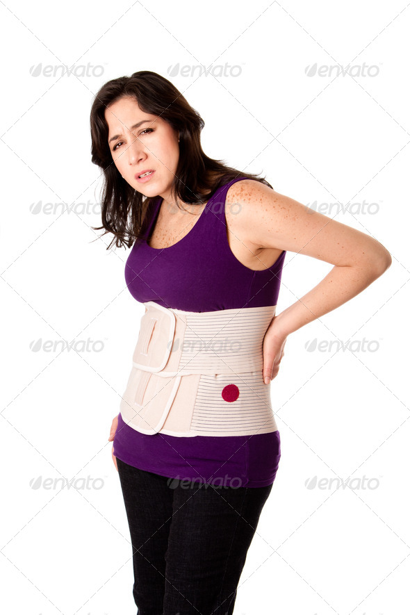 Woman with orthopedic body brace - Stock Photo - Images