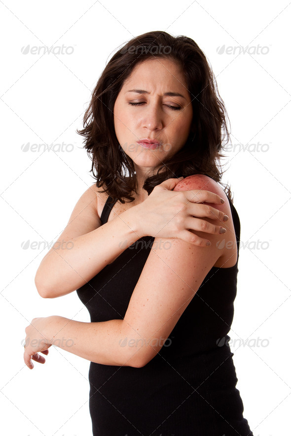 Woman with shoulder pain - Stock Photo - Images