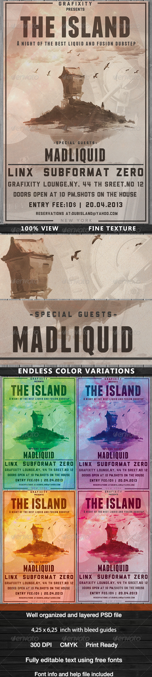The Island - Dub/Chillout Poster Flyer - Flyers Print Templates
