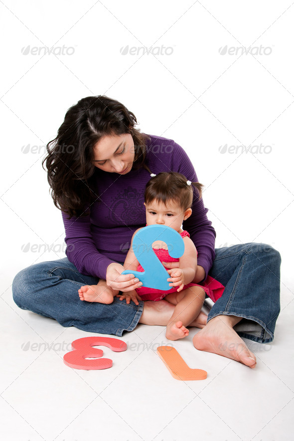 Baby learning to count - Stock Photo - Images