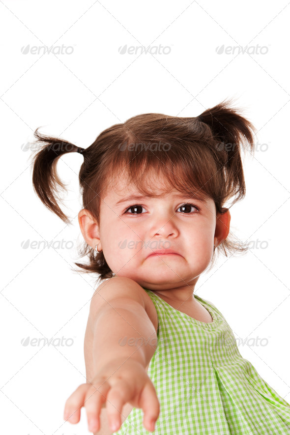 Sad face of little girl - Stock Photo - Images