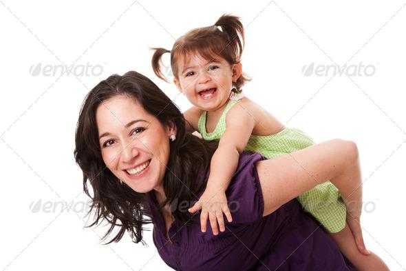 Fun piggyback ride - Stock Photo - Images