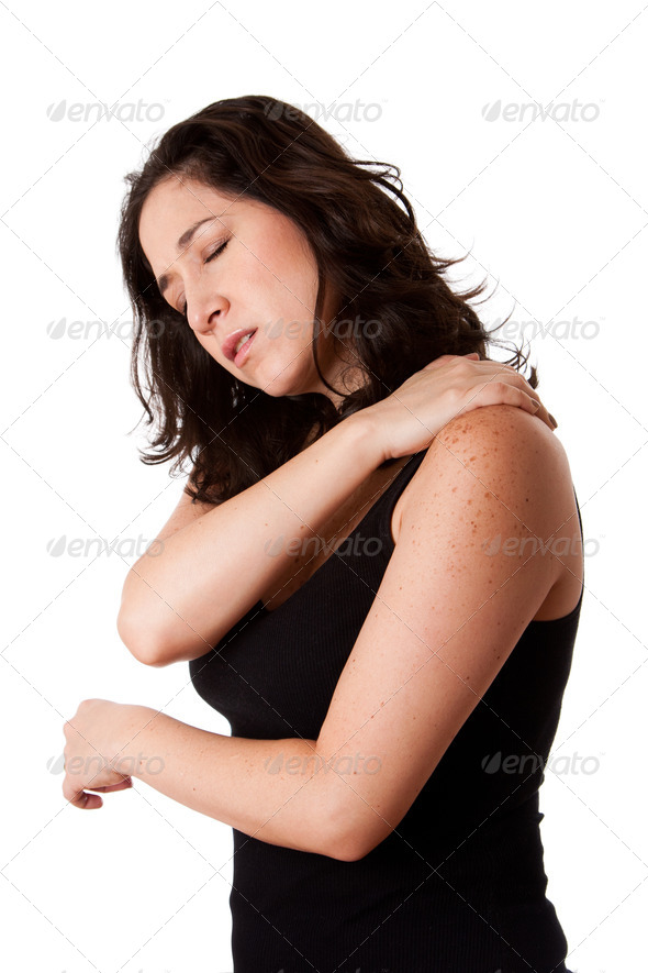 Woman with shoulder neck pain - Stock Photo - Images