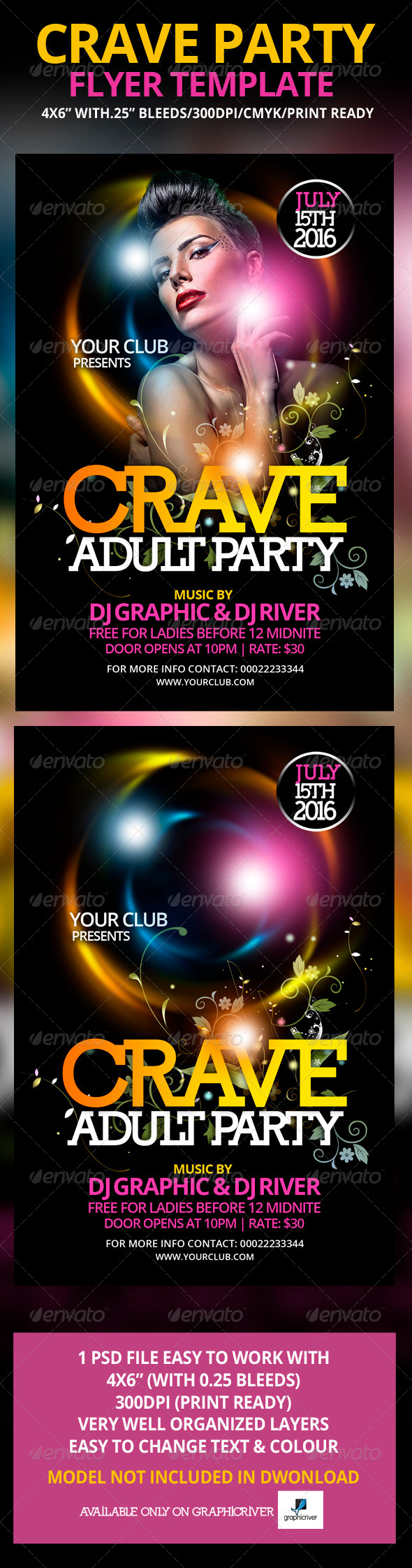 Crave Party Flyer Template - Flyers Print Templates