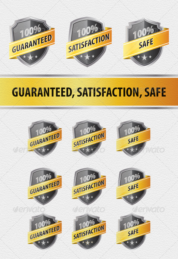 9 Guaranteed, Satisfaction and Safe Shields - Badges & Stickers Web Elements