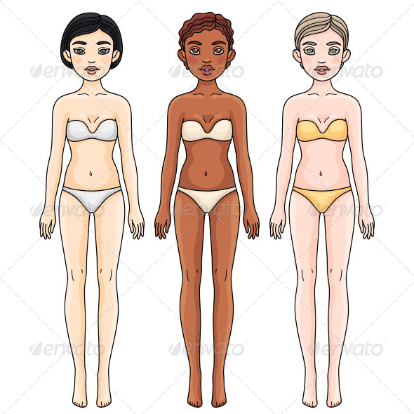 Girls from Different Ethnic Groups in Underwear - People Characters