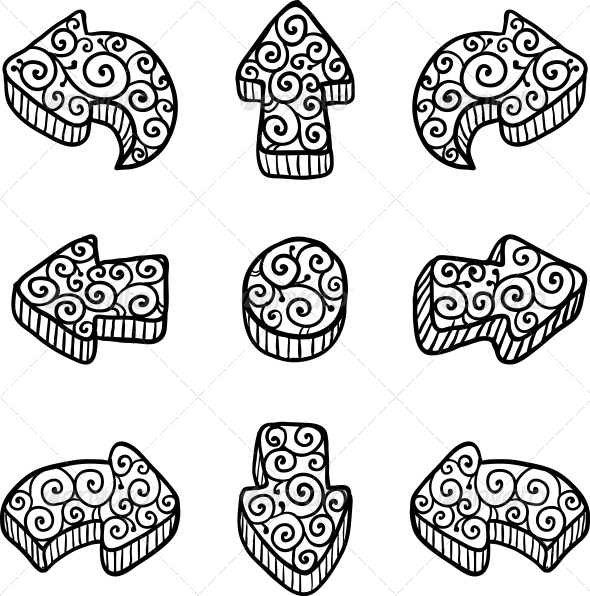 Set of Black Vector Doodle Ornate Arrows - Decorative Symbols Decorative