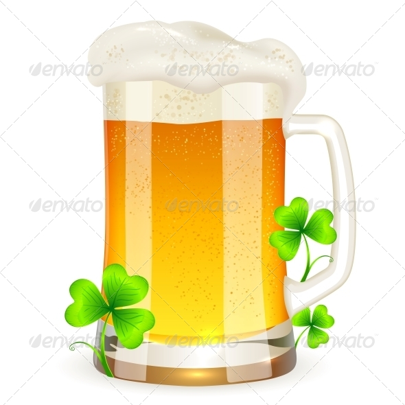 Pint of Light Beer with Clovers - Miscellaneous Seasons/Holidays