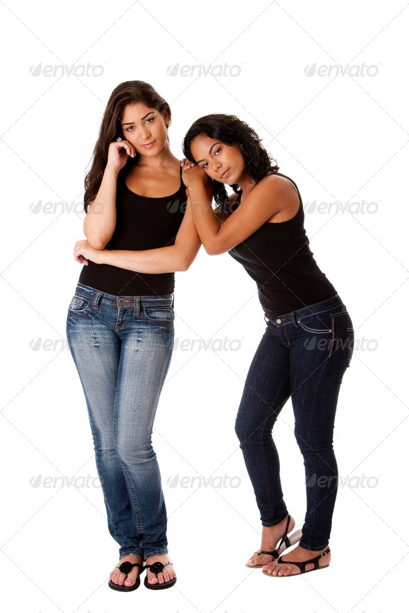 Young woman couple standing - Stock Photo - Images