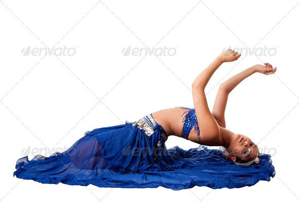 Belly dancer laying backwards - Stock Photo - Images