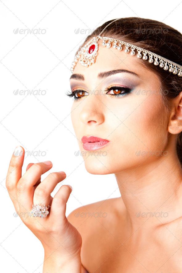 Hand in front of beauty Face - Stock Photo - Images