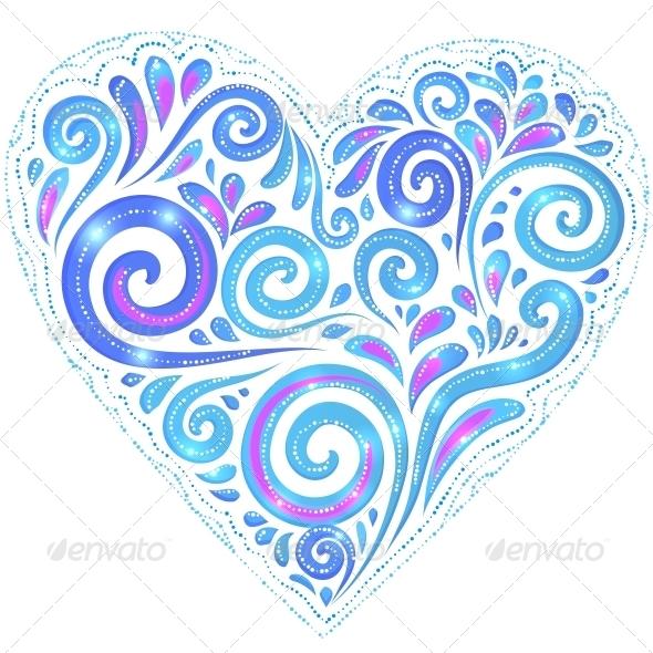 Blue Vector Shining Heart on Dark-Blue Background - Decorative Symbols Decorative
