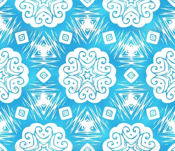 Blue Abstract Snowflakes Seamless Pattern - Christmas Seasons/Holidays