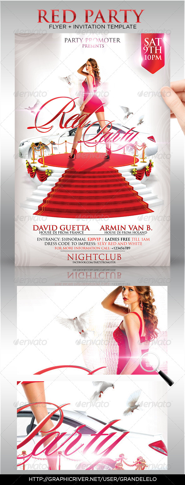 Red Party Flyer Template - Clubs & Parties Events