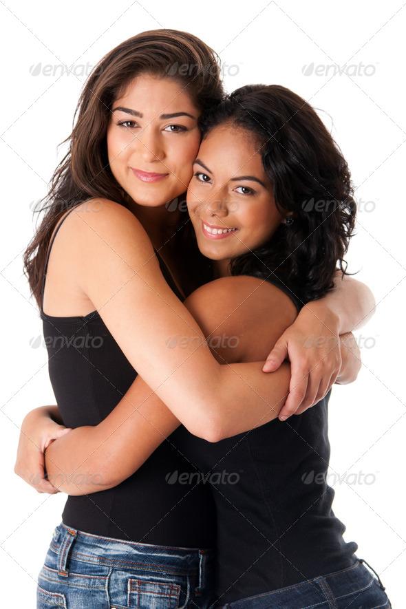 Best friends - hugging women - Stock Photo - Images
